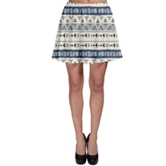 Native American Ornaments Watercolor Pattern Blue Skater Skirt by EDDArt