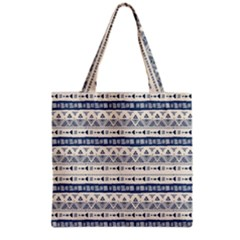 Native American Ornaments Watercolor Pattern Blue Grocery Tote Bag