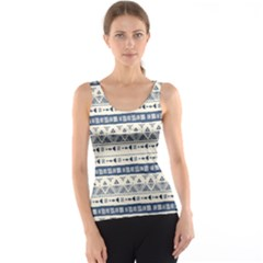 Native American Ornaments Watercolor Pattern Blue Tank Top