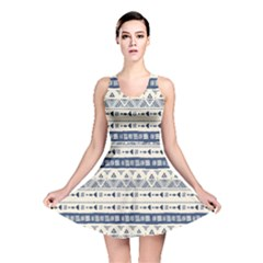 Native American Ornaments Watercolor Pattern Blue Reversible Skater Dress by EDDArt