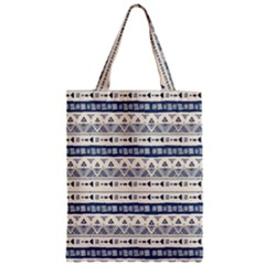 Native American Ornaments Watercolor Pattern Blue Classic Tote Bag