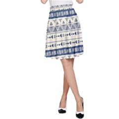 Native American Ornaments Watercolor Pattern Blue A Line Skirt