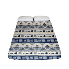 Native American Ornaments Watercolor Pattern Blue Fitted Sheet (full/ Double Size)