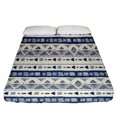 Native American Ornaments Watercolor Pattern Blue Fitted Sheet (queen Size)