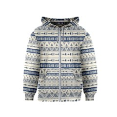 Native American Ornaments Watercolor Pattern Blue Kids  Zipper Hoodie