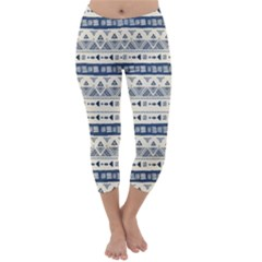 Native American Ornaments Watercolor Pattern Blue Capri Winter Leggings