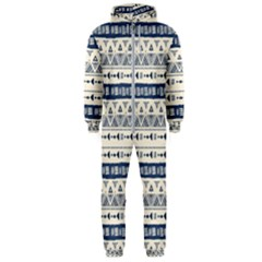 Native American Ornaments Watercolor Pattern Blue Hooded Jumpsuit (men)