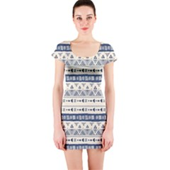 Native American Ornaments Watercolor Pattern Blue Short Sleeve Bodycon Dress