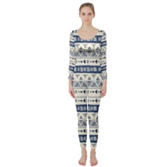 Native American Ornaments Watercolor Pattern Blue Long Sleeve Catsuit by EDDArt
