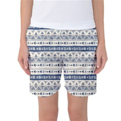 Native American Ornaments Watercolor Pattern Blue Women s Basketball Shorts