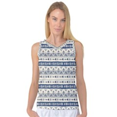 Native American Ornaments Watercolor Pattern Blue Women s Basketball Tank Top