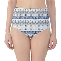 Native American Ornaments Watercolor Pattern Blue Classic High Waist Bikini Bottoms