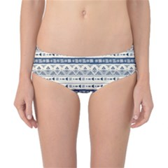 Native American Ornaments Watercolor Pattern Blue Classic Bikini Bottoms