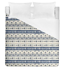 Native American Ornaments Watercolor Pattern Blue Duvet Cover (queen Size) by EDDArt