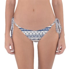 Native American Ornaments Watercolor Pattern Blue Reversible Bikini Bottom