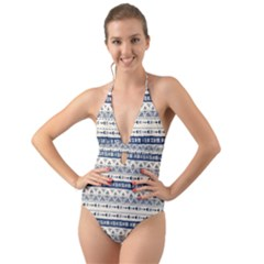 Native American Ornaments Watercolor Pattern Blue Halter Cut Out One Piece Swimsuit