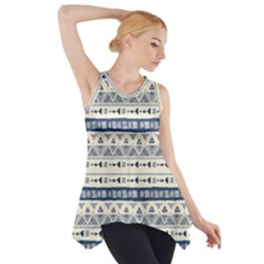 Native American Ornaments Watercolor Pattern Blue Side Drop Tank Tunic