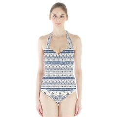 Native American Ornaments Watercolor Pattern Blue Halter Swimsuit