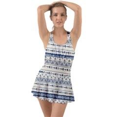 Native American Ornaments Watercolor Pattern Blue Ruffle Top Dress Swimsuit