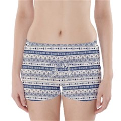 Native American Ornaments Watercolor Pattern Blue Boyleg Bikini Wrap Bottoms