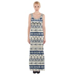 Native American Ornaments Watercolor Pattern Blue Maxi Thigh Split Dress