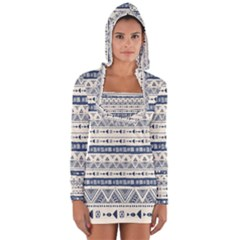 Native American Ornaments Watercolor Pattern Blue Long Sleeve Hooded T-shirt by EDDArt