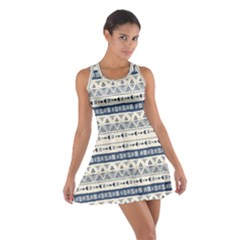 Native American Ornaments Watercolor Pattern Blue Cotton Racerback Dress