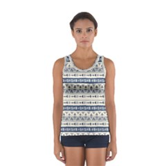Native American Ornaments Watercolor Pattern Blue Sport Tank Top