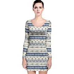 Native American Ornaments Watercolor Pattern Blue Long Sleeve Velvet Bodycon Dress