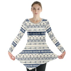 Native American Ornaments Watercolor Pattern Blue Long Sleeve Tunic