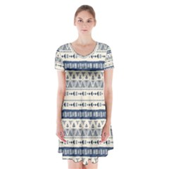 Native American Ornaments Watercolor Pattern Blue Short Sleeve V Neck Flare Dress