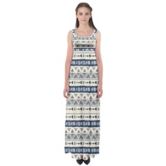 Native American Ornaments Watercolor Pattern Blue Empire Waist Maxi Dress