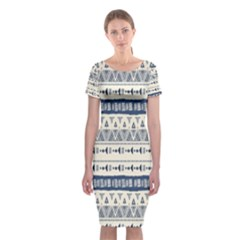 Native American Ornaments Watercolor Pattern Blue Classic Short Sleeve Midi Dress