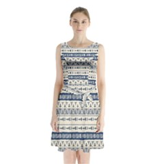 Native American Ornaments Watercolor Pattern Blue Sleeveless Waist Tie Chiffon Dress