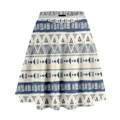 Native American Ornaments Watercolor Pattern Blue High Waist Skirt