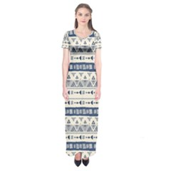 Native American Ornaments Watercolor Pattern Blue Short Sleeve Maxi Dress