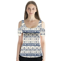 Native American Ornaments Watercolor Pattern Blue Butterfly Sleeve Cutout Tee