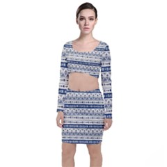 Native American Ornaments Watercolor Pattern Blue Long Sleeve Crop Top & Bodycon Skirt Set by EDDArt