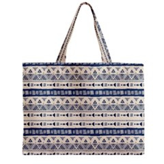 Native American Ornaments Watercolor Pattern Blue Medium Tote Bag by EDDArt