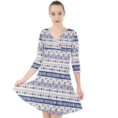 Native American Ornaments Watercolor Pattern Blue Quarter Sleeve Front Wrap Dress by EDDArt