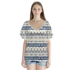 Native American Ornaments Watercolor Pattern Blue V Neck Flutter Sleeve Top