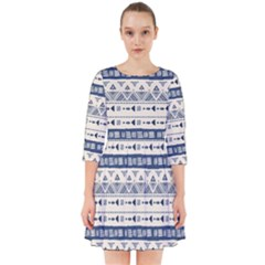 Native American Ornaments Watercolor Pattern Blue Smock Dress