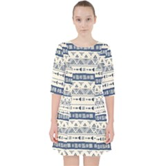Native American Ornaments Watercolor Pattern Blue Pocket Dress