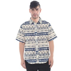 Native American Ornaments Watercolor Pattern Blue Men s Short Sleeve Shirt by EDDArt