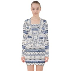 Native American Ornaments Watercolor Pattern Blue V Neck Bodycon Long Sleeve Dress by EDDArt