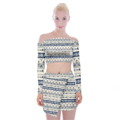 Native American Ornaments Watercolor Pattern Blue Off Shoulder Top With Mini Skirt Set
