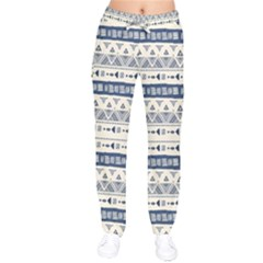 Native American Ornaments Watercolor Pattern Blue Velvet Drawstring Pants