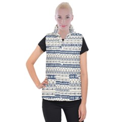 Native American Ornaments Watercolor Pattern Blue Women s Button Up Vest