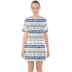 Native American Ornaments Watercolor Pattern Blue Sixties Short Sleeve Mini Dress by EDDArt
