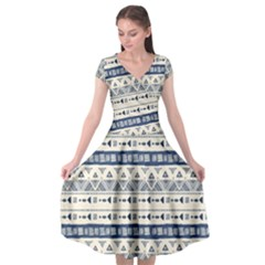 Native American Ornaments Watercolor Pattern Blue Cap Sleeve Wrap Front Dress